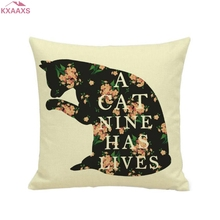 5 Patterns Classic Cute Cat Printed Linen Cotton Throw Pillow Cover Home Sofa Decor Fresh Cushion Cover Decorative Pillowcase(China)