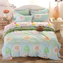 2016 fashion bed linen queen full twin size duvet/doona cover bed sheet pillow cases 3/4pcs bedding set/turquoise sunflower