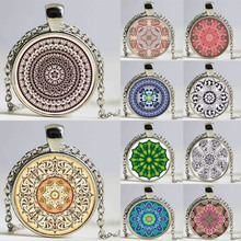 1pcs Kaleidoscope Buddhism Mandala Necklace Art Glass Dome Vintage Neon Blue Pink purple green Mandala boho pendant
