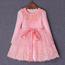 3-9yrs Autumn Flowers Pearls Girls Dress Girls Clothing Princess Party Birthday Dovetail Dresses Girl Costume Kids Pink Purple(China)
