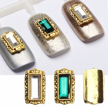 new arrive 20pcs 3D alloy nail art jewelry with white/green diamonds gold metal nail decoration Korean Japanese nail metal parts