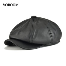 Buy VOBOOM Genuine Leather Men Women Solid Color 8 Panel Design Gatsby Flat Cap Classic Newsboy Boina Beret Hat Brown Black 115 for $39.99 in AliExpress store