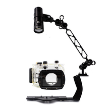 Underwater Waterproof Housing Diving Case for Canon G12 G15 G16 G1X G5X G7X G9X G1X II Camera Arm Bracket Led Video Torch