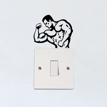 Man Fitness Sport Gym Vinyl Wall Stickers Decor Light Switch Decals 5WS1364
