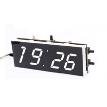 OOTDTY DIY 4-Digit Digital Clock Electronic LED Kit Large Display Case Light Control 1X White