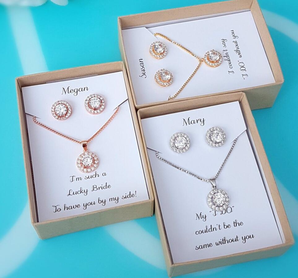Bridesmaids Proposals with Cubic Zirconia Jewelry in gift boxes Custom Bridesmaid Jewelry with personalized message