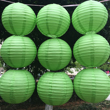 Hot 4/6/8/10/12/14/16 Inch Green round Paper Lanterns Chinese round lamp festival decoration Lampion Wedding Decor glim party