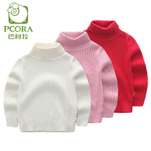PCORA Kids Sweater Girl Turtleneck Knitted Sweater Baby Girl Winter Warm Clothes Kids Wool Sweaters 5 Colors Size 3T,4T,5T(China)