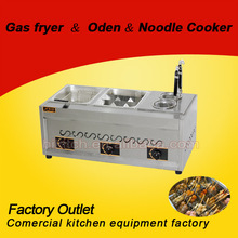 Stainless Steel Gas Oden Noddle Cooker and Fryer Machine in Guangzhou/3 in 1