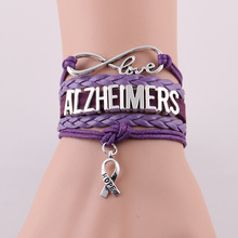 Infinity Love ALZHEIMERS bracelet hope charm rope leather awareness bracelets & bangles gift for men women jewelry Drop Shipping