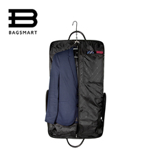 BAGSMART Waterproof Black Nylon Garment Bag With Hanger Clamp Lightweight Suit Bag Durable Business Men Travel Bags For Suit