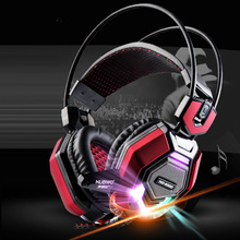 Computer Headband Gaming Luminous Headphones with HD Microphone for PC Subwoofer Big Headset Stereo Bass Earphone 50mm Unit