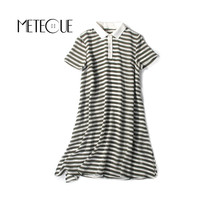 Casual Striped Summer Dresses 2017 Summer 100% Silk Short Sleeve Midi Dress New 100% Sole Tunique Femme 2017