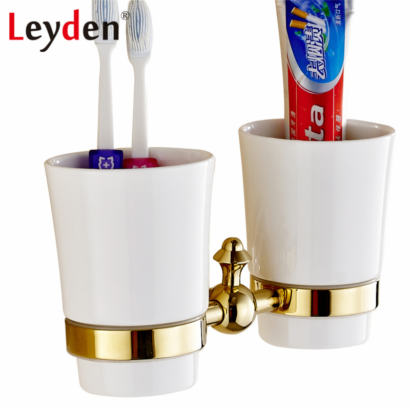 Leyden ORB/ Gold Toothbrush Tumbler Holder Brass Black Toothbrush Holder Wall Mounted Bath Cup Hanger Rack Bathroom Accessories<br>