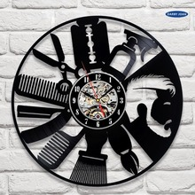 Hairdresser Disk Vinyl Wall Clock Art Decor Unique Decorative Watch Gift Ideas for Salon Hairstyling Clocks