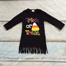 new arrival Halloween baby girls kids Fall fringe tassels outfits dress Trick or Treat corn black cotton long sleeve children