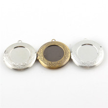 32x32mm Trendy Alloy Picture Photo Round Locket Frame Pendants charms For DIY Jewelry Making Necklace