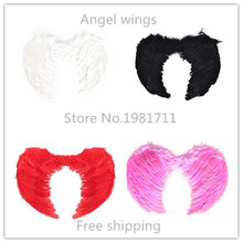 Free Shipping Wholesale Chic Feather Fairy Angel Wings Festival Cosplay Beauty Dress Up White/Black/red/Pink 4 Colors
