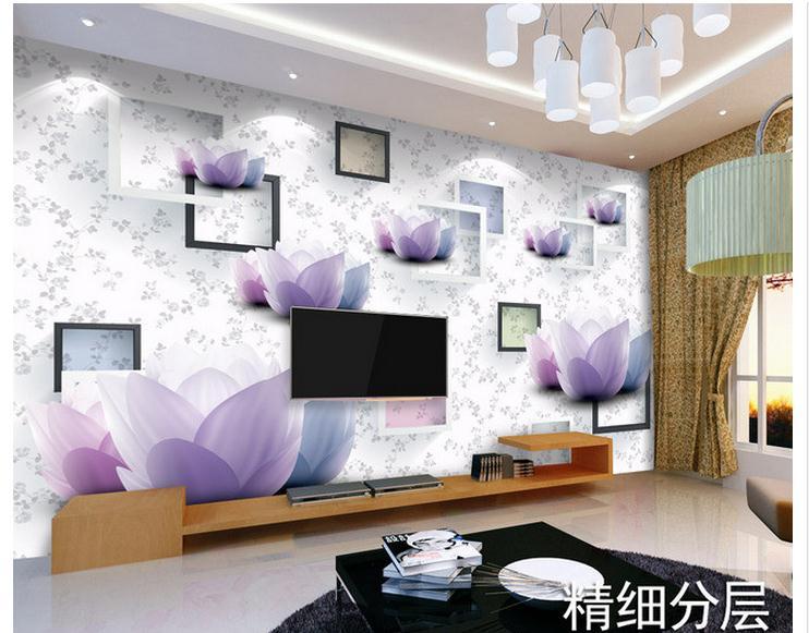 Customized 3d photo wallpaper 3d wall murals wallpaper Quietly elegant lotus 3 d TV setting wall paint 3d wallpaper living room<br><br>Aliexpress