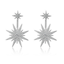 JEXXI Beautiful Star Stud Earrings New Brand Micro Pave Setting Cubic Zirconia Earring Jewelry For Lady Women(China)