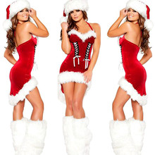 Buy DaiDailuna Women Sexy Christmas Costumes Red Sexy Dress+Hat halter Christmas Dress Santa Adults Uniform Party Costumes