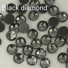 Super Shine Hot Fix  DMC Hotfix Black Diamond ss6 Rhinestone Crystals  Stones1440pcs/bag  Heat Transfer Glass Beads