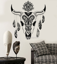 Animal Skull Bull Feathers Wall Stickers Ethnic Decor Sticker Decor Living Room Wall Decal Nontoxic PVC Artistic Mural SA888