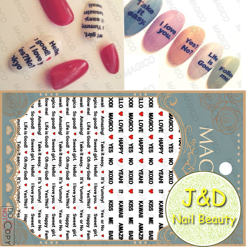Wholesale 24pcs Black Letter Nail Art Sticker Red Heart Nail Decals ...