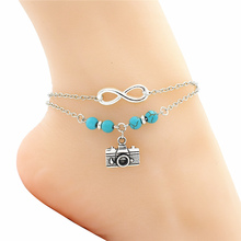 New Unique Gift Silver Infinity Camera Charm Anklets for Women Green Beads Ankle Bracelet Photograph Lover Foot Chain Jewelry