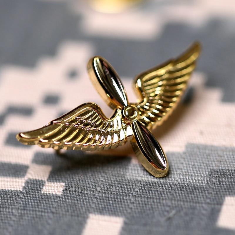 Airlines Crew Uniform Wings Badge Golden Flight Flying Medal Pin Brooch Insignia
