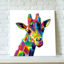 Colorful Abstract Giraffe Painting Hand Painted Canvas Oil Paintings Modern Home Decor Wall Art Funny Animal Cartoon Pictures