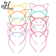 Haimeikang Solid Candy Colour Color Plastic Cat Ear Tiara Princess Headband Hair band With Teeth girls kids Hair Accessories(China)