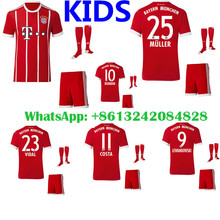 Hot sales 2017 Top Best Qualit Bayerning Muniching kids kit +sock Soccer jersey 17 18 Home red Away gray 3RD white Free shipping