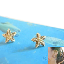 Hot Charming Fashion Rhinestone Pearl Starfish Star Earring Sea Ear Stud Earrings 7EGT BEDG(China)