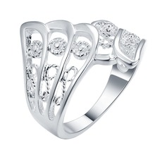 11.11 SUPER DEAL Angel wing silver Ring Flower silver ring women men plant feather animal wedding lover's Valentine jewelry(China)