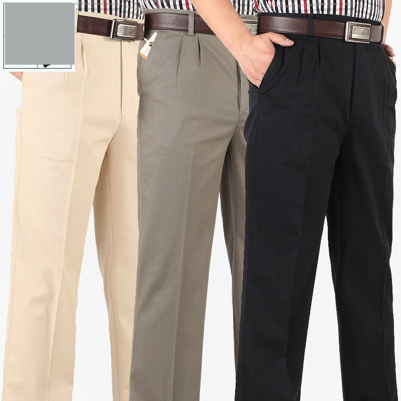 New arrival fashion Spring Summer Men Straight Trousers Loose High Waist Cotton Casual Pleated plus size 313233343536384042 4446