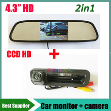 "CCD HD Car rear view parking backup camera for Ford Focus 2012 2013 focus 2 focus 3 + 4.3"" car rearview mirror monitor TFT LCD"