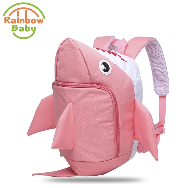 Rainbow Baby 3D Model Shark Kids Baby Bags Waterproof Wear-resistan With Anti-lost Rope Boys Girls Childs School Bags Backpack<br>