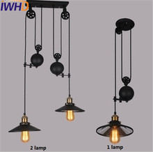 Loft Style Glass Mirror Lift Pulley Droplight Edison Vintage Pendant Light Fixtures For Dining Room Industrial Lamp Lamparas(China)