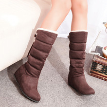 Fashion Women Winter Boots Female Wedges Snow High Boots Suede Height Increasing Bottes Size 35-45
