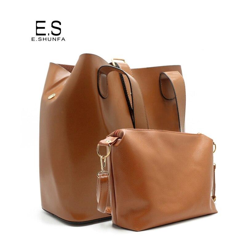 2 Piece Casual Bucket Bag Set Handbag PU Leather 2017 Fashion Design Shoulder Bags Composite Strap Hasp Shoulder Tote Bag Women<br>