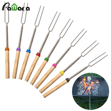 8 Pcs BBQ Forks & storage bag travel out door campfire Stainless Steel Wooden Handle Telescoping Barbecue Roasting Fork TOOLS(China)