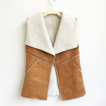 New Vintage Autumn Winter Women Suede Warm Fleece Turn-down Collar Vest Jackets Sleeveless Slim Outerwear Coat Waistcoat Q4955