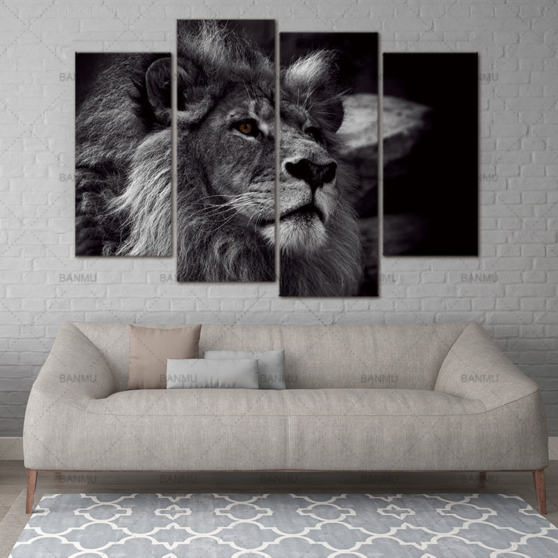 Lion Head Portrait Wall Art Painting Black And White Gray Pictures Print On Canvas 4 Panels Modern Animal Picture For Decoration(China)