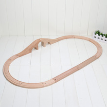 12pcs/set Train Wooden Track Railway 3 Hole Arch Bridge Track straight curved tracks Free Shipping