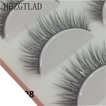 Fake Eyelashes Makeup Handmade Daily Natural HBZGTLAD 5-Pairs Long-Thick 3D