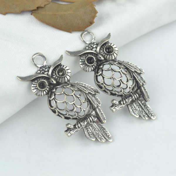 20 Silver Tibetan Metal Charms Owl Pendant Necklace Jewellery making