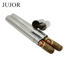 JUJOR Grade 304 Stainless Steel Two Cigars Tube/Box Mirror Polished High Quality Portable Cigar Accessories and Gift