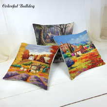 Creative Country Style Cushion Cover River Brick House Water Ducks Egrets Countryside Chimney Patio Decor Home Sofa Oriental Gif