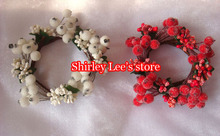 "New Arrival!!!(72pcs/lot) 2.5"" Iced Berry Candle Ring For Candle Decoration in White And Red, Mix 2 Colors *FREE SHIPPING *(China)"